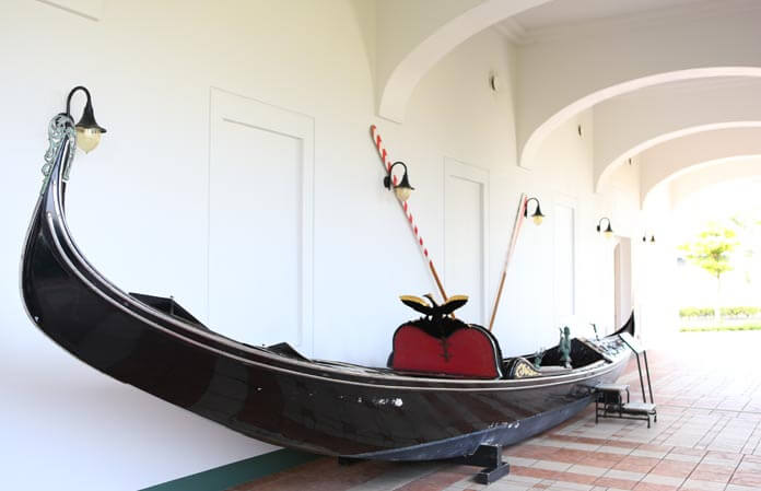 Historic gondola in the corridor.